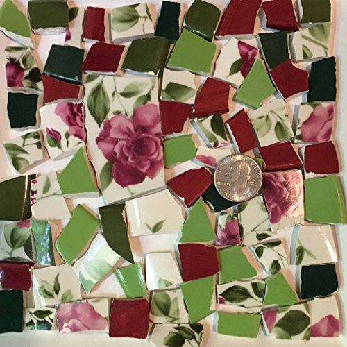 Mosaic Tile Art Supply for Mosaics & Crafts ~ Spring Red Roses & Green Leaves Tiles (T#516) by J Pepper's Art By Hand