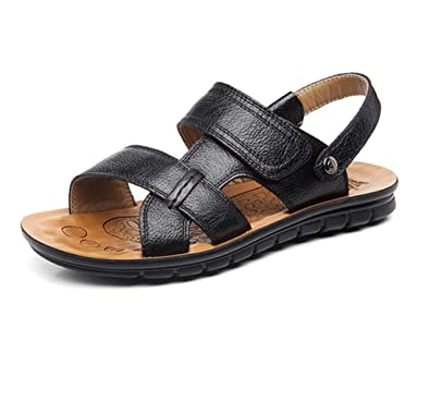 f745fe91c12f GRRONG Men s Sandals for Summer Leather Breathable Open Toe Sandals Casual  Beach Shoes  Amazon.co.uk  Shoes   Bags