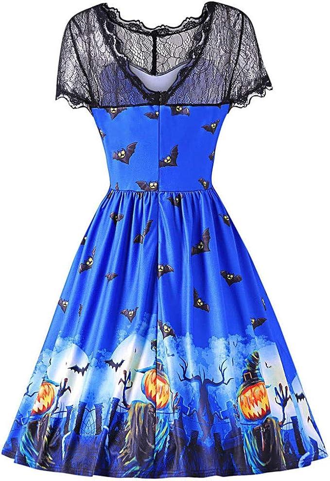 iDWZA Womens Halloween Bat Print Prom Lace Vintage Spliced Skirt Party Dress