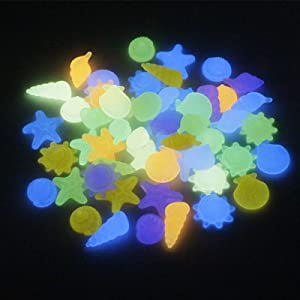 bestheart Glowing Rocks,100+ Glow in The Dark Rocks for Outdoor Decor, Garden Lawn Yard, Aquarium, Walkway, Fish Tank, Pathway, Driveway, Luminous Pebbles Powered by Light (Colorful)