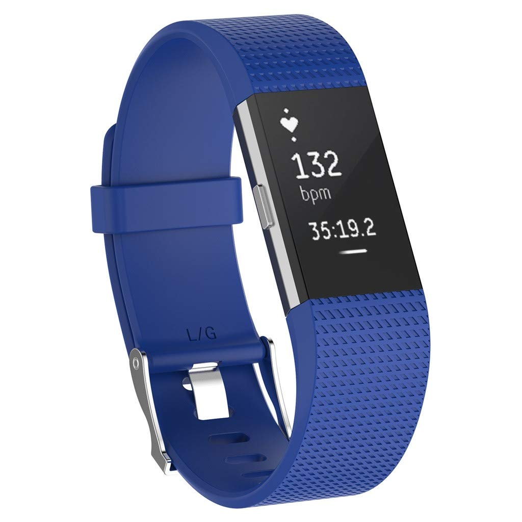 5.5-7.5 Inches Women Men Purple Tuscom Replacement Bands Compatible for Fitbit Charge 2 Classic /& Special Edition Sport Wristbands Soft Silicone Adjustable Strap for Fitbit Charge 2