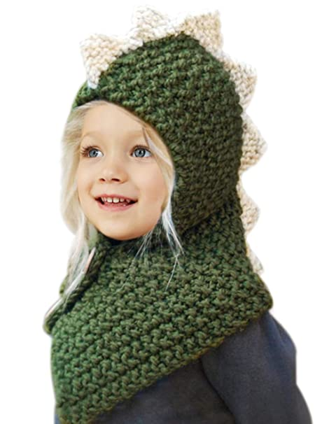 Tacobear Kids Hat Dinosaur Skull Cap Warm Winter Hat Crochet Cute Dinosaur  Animal Hat Scarf Coif 429170b7934
