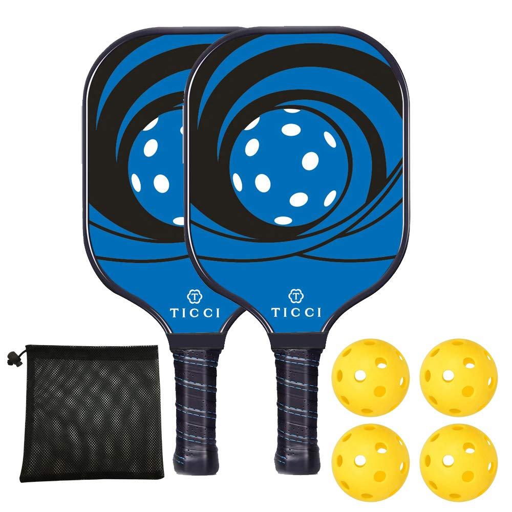 TICCI Pickleball Paddle Set Fiberglass Face Pickleball Racket Lightweight Honeycomb Composite Core Pickleball Racquet Set Includes 2 Paddles + 4 Balls(Blue) by T TICCI