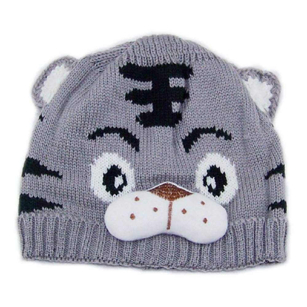 WARMSHOP Fashion Baby Warm Winter Hats With Ears Cartoon Tiger Knitted Wool Hemming Lightweight Cap Beanie (Gray, 0-24 Months)