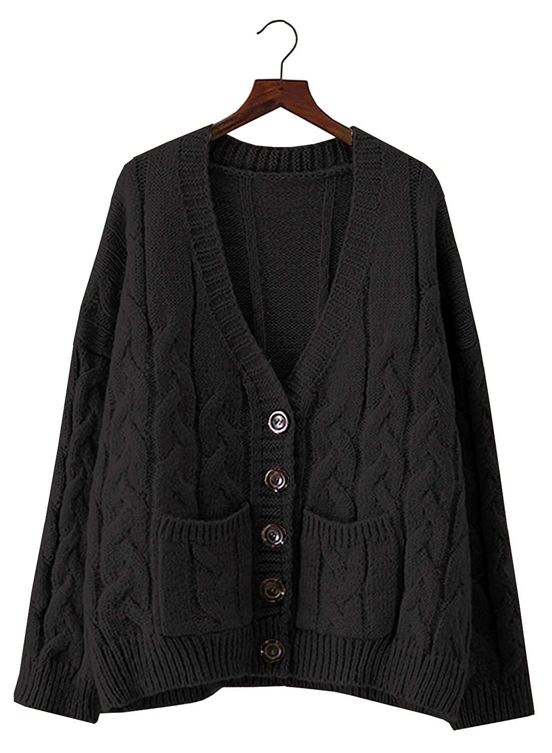 Doballa Women s Slouchy Grandad Cable Knit Button Down Chunky Cardigan  Sweater with Pockets (One Size d1ac894ea