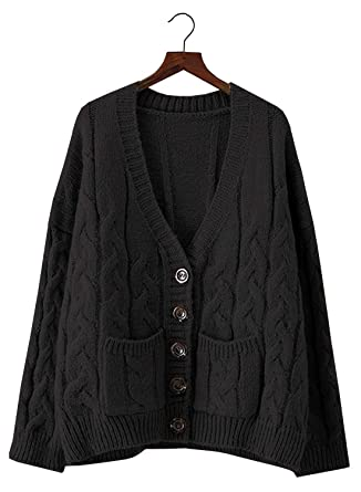 7d5f009194 Doballa Women s Slouchy Grandad Cable Knit Button Down Chunky Cardigan  Sweater with Pockets (One Size