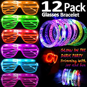 abc3cebaed7 2019 New Party Favor Kit Glow in The Dark Party Supplies 6 LED Glasses  Light up Toys Holiday Party Pack for Kids with 6 Light Up Bracelet Toy Gift  for Kids ...
