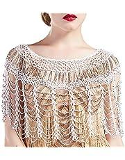 BABEYOND 1920s Shawl Wraps Gatsby Beaded Evening Cape Bridal Shawl Bolero Flapper Cover Up
