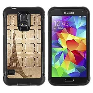 LASTONE PHONE CASE / Suave Silicona Caso Carcasa de Caucho Funda para Samsung Galaxy S5 SM-G900 / Tower Sketch Brown Pencil Paris