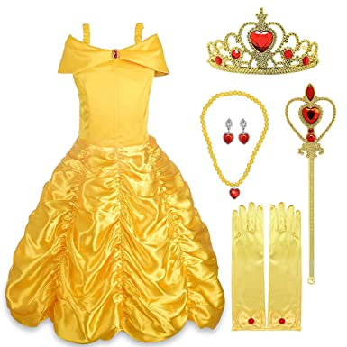 52c44bcd Amazon.com: DIMY Princess Belle Off Shoulder Layered Costume Dress for Girls  - Best Gifts: Clothing