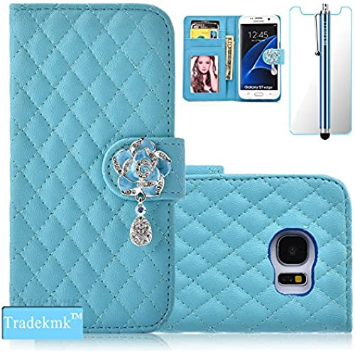 Galaxy S7 Case,S7 Case, Tradekmk(TM); Camellia Design PU Leather Card Holders And Stand Wallet Phone Case (Blue Sales