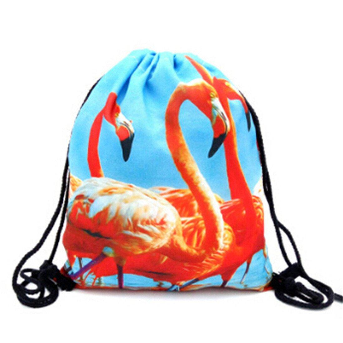 VWH Red Flamingo Printsレディースガールズドローストリングバックパックショルダーバッグ B074W5K348