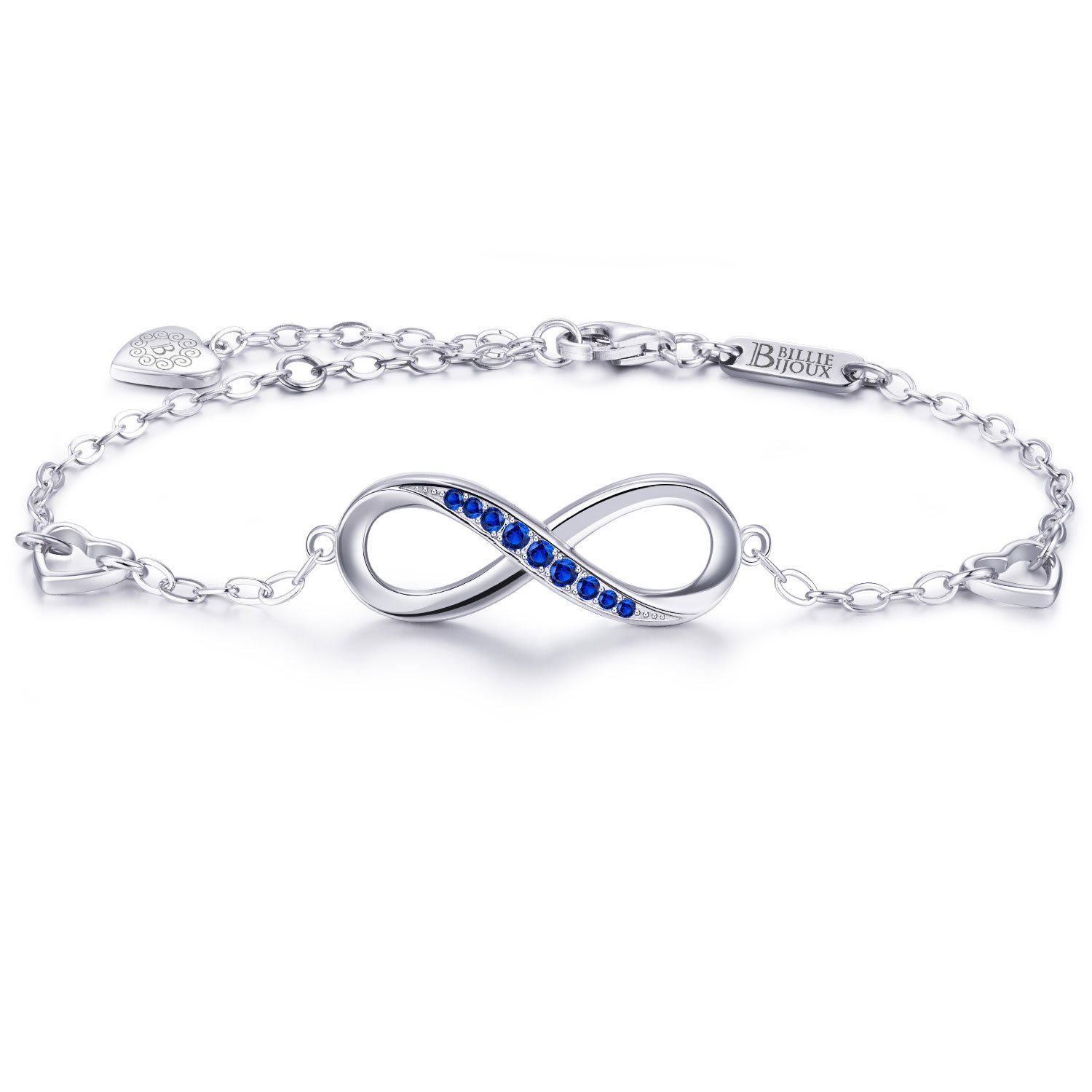 Billie Bijoux Womens 925 Sterling Silver Infinity Endless Love Symbol Charm Adjustable Bracelet Gift for Mother's Day (Blue)