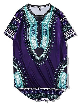 ROBO Camiseta Hombres de Estilo Africano Impreso Cuello Redondo de ...