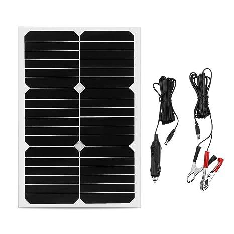 DyNamic 20W 12V Mono silicio semi-flexible panel solar w/3m cable Cocodrilo clip