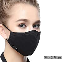 Reusable N95 Mask PM2.5 (One Mask + 2 Filters) Cotton Mouth Masks Replaceable Filter 4 Layer Activated Carbon Filter Insert Dust Mask Washable For Women Black
