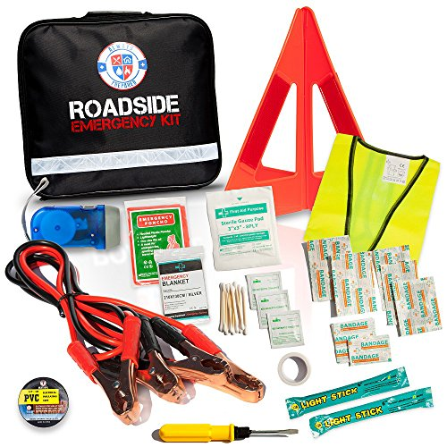 Always Prepared Emergency Road Assistance Kit (62 Pieces) All-In-One Solution: Includes 8-Gauge Jumper Cables, Self-Powered LED Flashlight, Emergency Triangles, First Aid Kit, Light Sticks And More