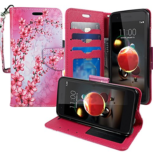 LG Aristo 2 (X210) Phone Case, LG Tribute Dynasty, LG Zone 4, LG Rebel 3 Wallet Pouch Flip Folio [Kickstand Feature] PU Leather Cover w/ ID&Card Slot Wrist Strap by Zase (Pink Cherry Blossom Flower)