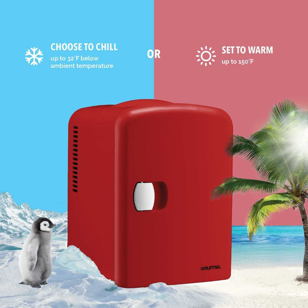 Gourmia GMF600 Thermoelectric Mini Fridge Cooler and Warmer - 4 Liter/ 6 Can - For Home,Office, Car, Dorm or Boat - Compact & Portable - AC & DC Power Cords - Red by Gourmia (Image #3)