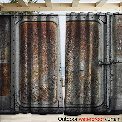 warmfamily Industrial Outdoor Curtain Vintage Railway Container Door Old Locomotive Transportation Iron Power Design W120 x L108 Grey Brown -