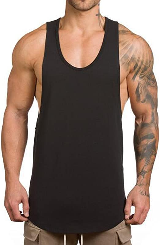 Mens Muscle Gym Workout Stringer Tank Tops Bodybuilding Fitness Quick-Dry T-Shirts 2019 Men Summer Shirts Deals