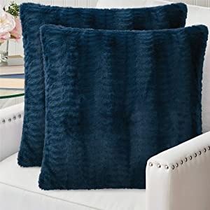 The Connecticut Home Company Original Faux Fur PIllowcases Set of 2, Decorative Case Sets, Many Colors, Throw Pillow Covers, Luxury Soft cases for Bedroom, Living Room Sofa, Couch and Bed, 18x18, Navy
