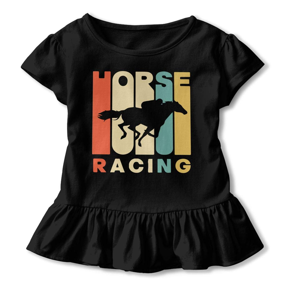 Vintage Style Horse Racing Silhouette Kids Girls Short Sleeve Ruffles Shirt Tee Jersey for 2-6T