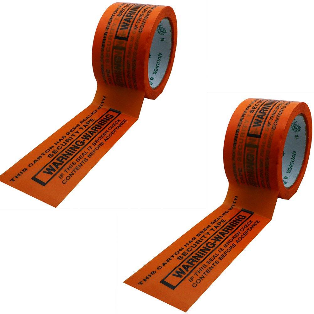 Hybsk 60MM(width) x 60M(length)Warning Tape Orange With Black Ink (2 Rolls)