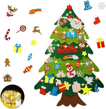 Mgrett Fieltro Árbol de Navidad, Árbol de Navidad de Fieltro DIY 32 Unids, Navidad Decoración Colgante Luz de Cadena LED para Niños Cafe Hotel Casa Decoración (Árbol1)