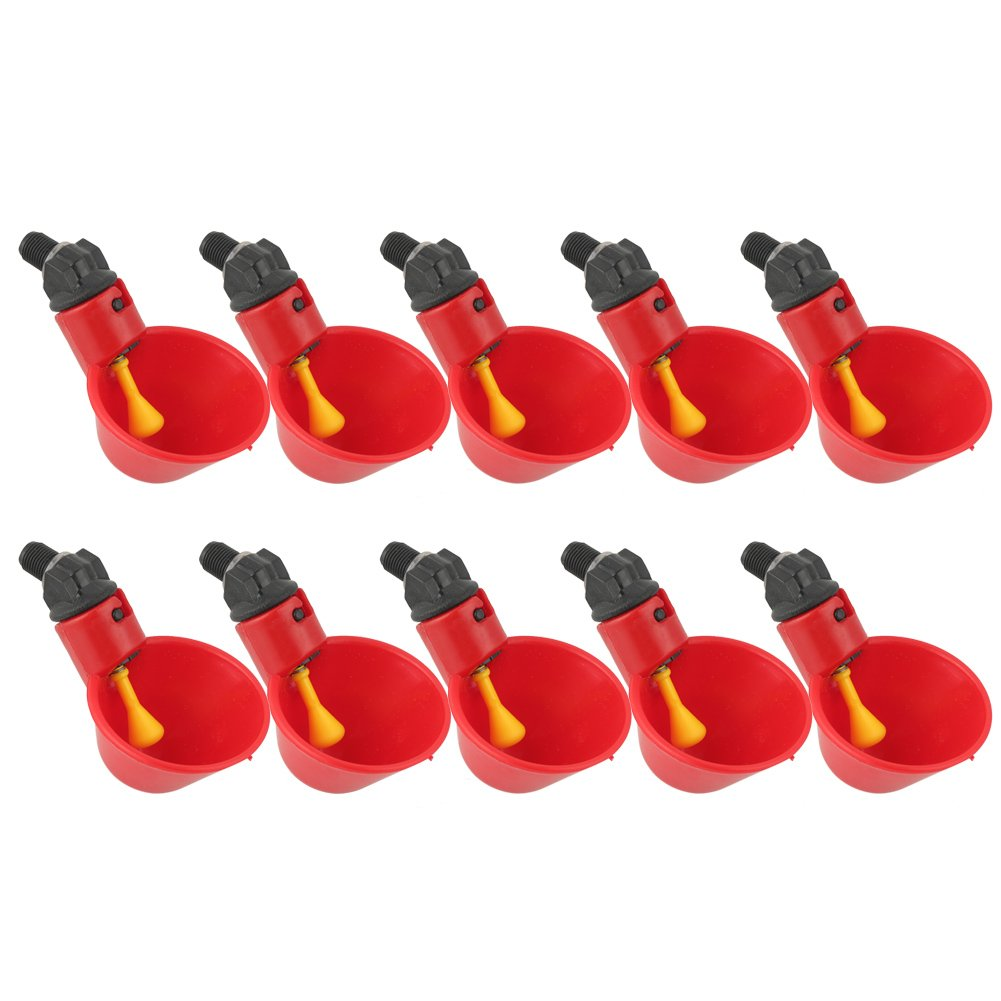 HEEPDD 10Pcs Automatic Chicken Drinkers Waterers Poultry Watering Cups Bowls Drinking Dispenser Red Plastic Backyards Flock Duck Bird Water Feeder for Pigeons Quail Hen Turkeys Geese by HEEPDD