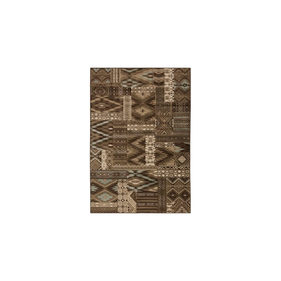 7.75 x 10.5 Southwest Squares Brown and Teal Area Throw Rug