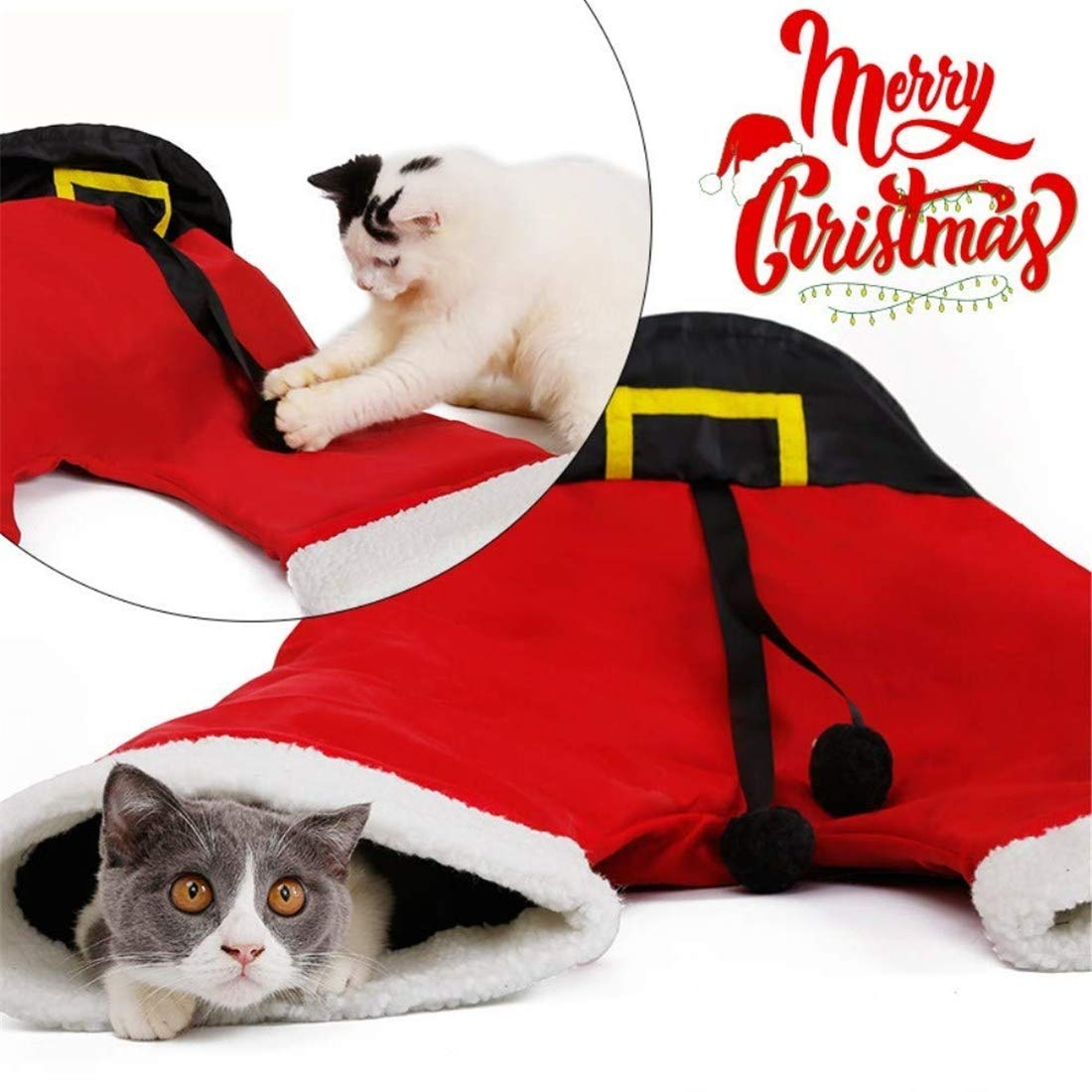 Christmas Santa Pants Pet Cat Tunnel Collapsible 3 Way Play Toy Interactive Tube Fun Toys for Cats Kitten Rabbit,1piece