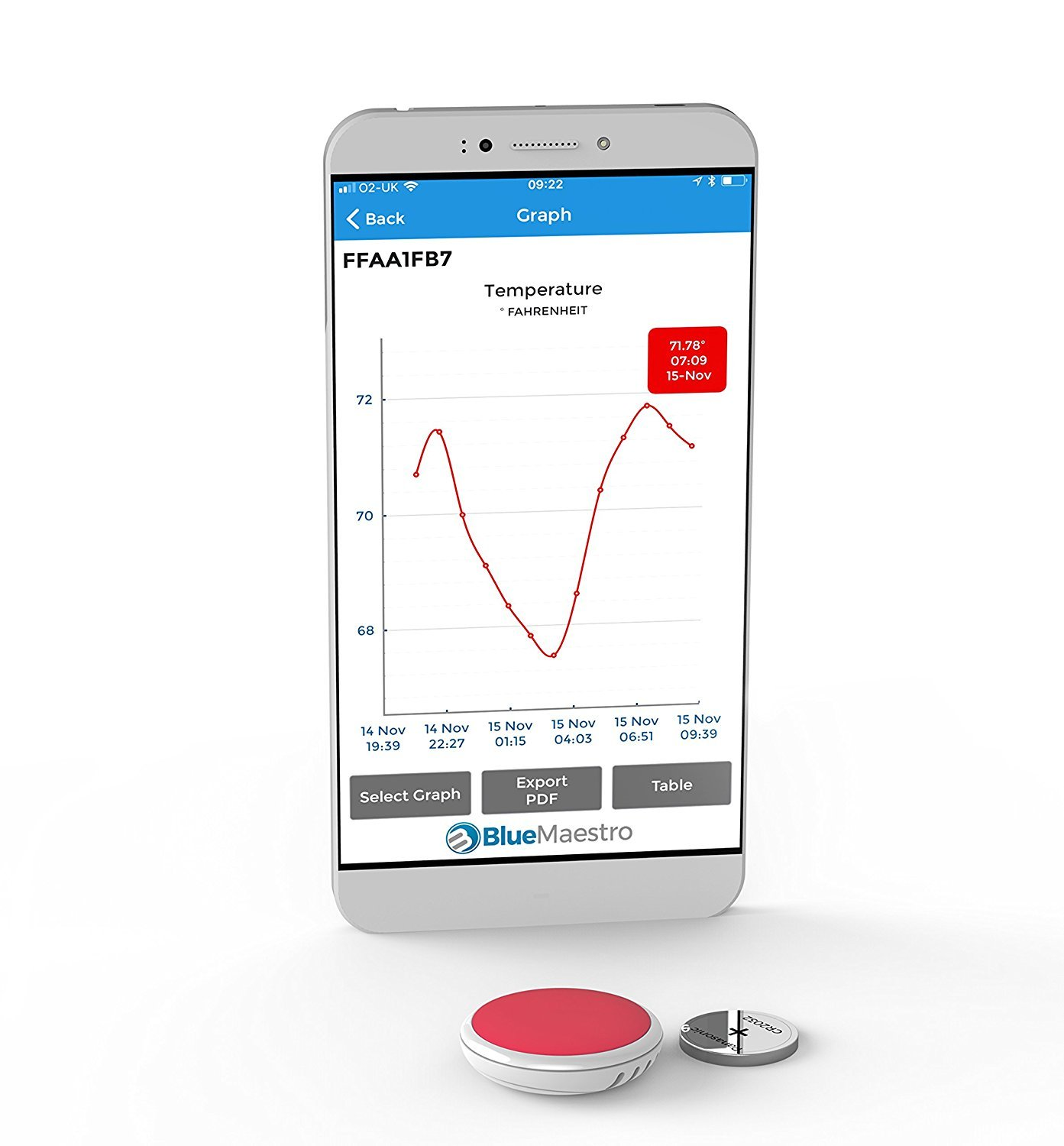 TEMPO DISC Bluetooth wireless thermometer sensor beacon and data logger. Remote monitor for temperature. For iOS and Android.