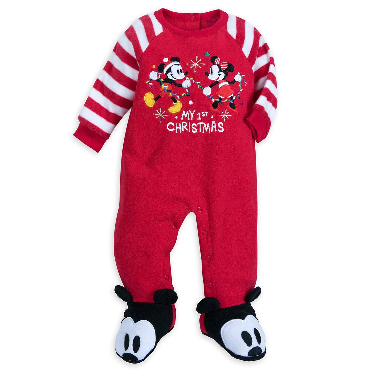 Disney Store Mickey Minnie My First Christmas Baby Boy Girl Footed Sleeper Pajama 18//24 Month