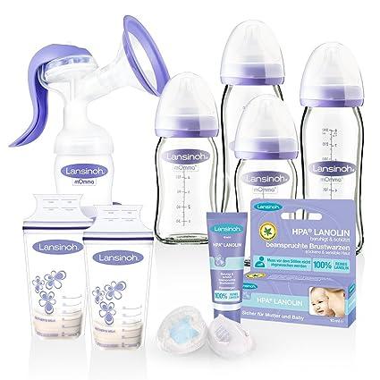 Lansinoh botellas de cristal (Mega de Set & mano Bomba de 2 fases de leche