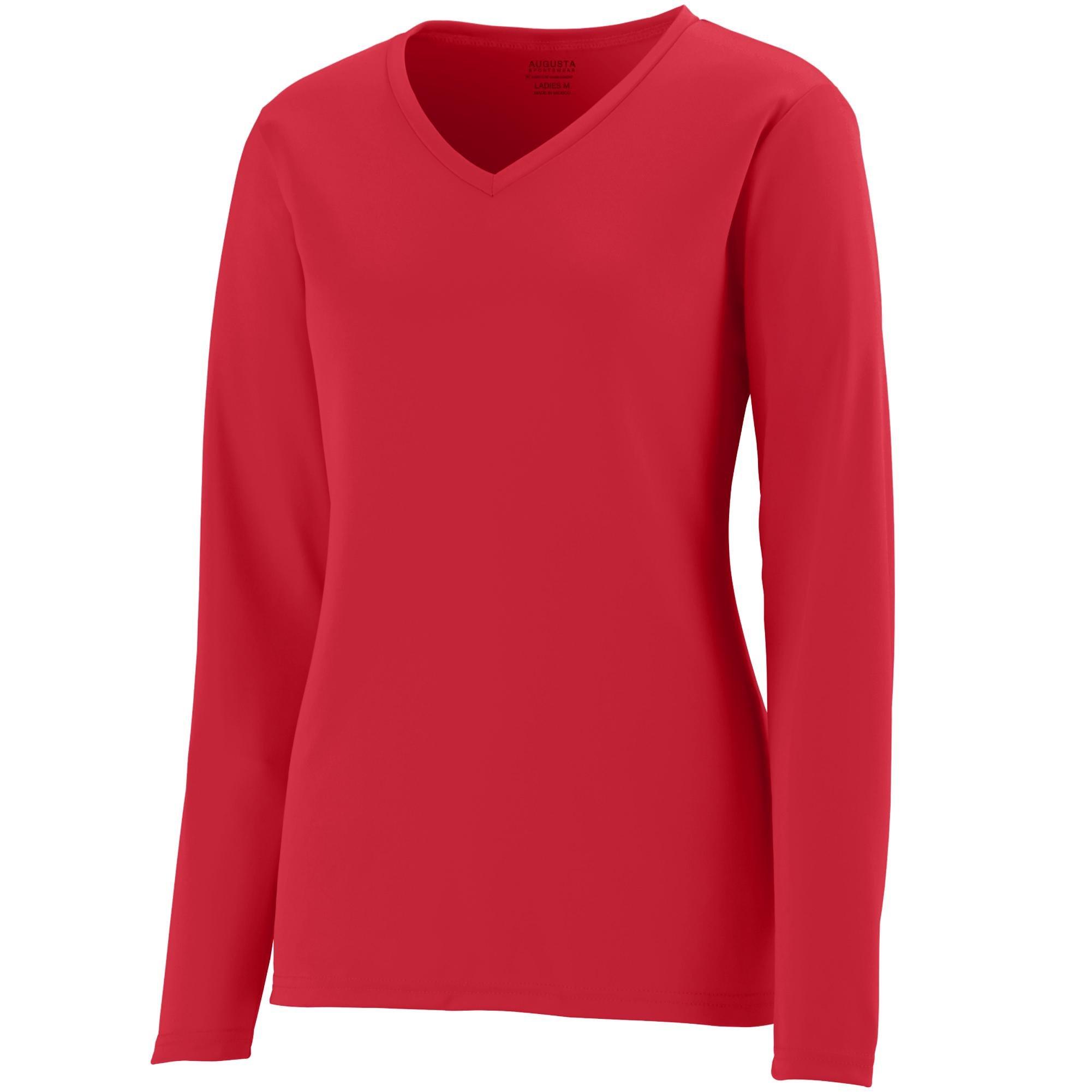 Augusta Sportswear Womens Long Sleeve Wicking T-Shirt, Red, 3X-Large