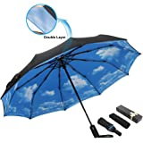 ESUFEIR 10 Ribs Golf Umbrella Large Windproof Umbrella, Compact Auto Open Close Travel Umbrella with Double Layer Design, Sturdy UV Protection Waterproof Umbrella (Blue Sky)