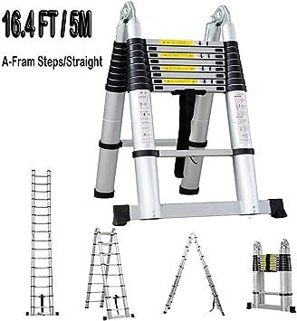 Escalera telescópica de aluminio, extensiones de frama A, escaleras multiusos de 22,86 m + 21,59 m con EN 131(5 m=2,5 m + 2,5 m): Amazon.es: Bricolaje y herramientas