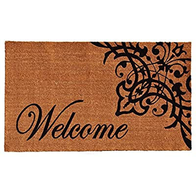 "Home & More 121353048 Scroll Welcome Doormat, 30"" x 48"" x 0.60"", Natural/Black"