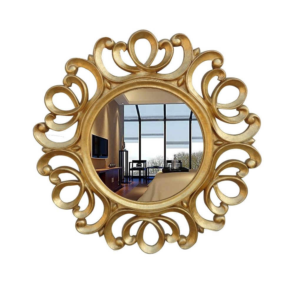 European Mirror Home Wall Hanging Mirror Resin Entrance Decoration Mirror Makeup Mirror Bathroom Mirror Retro Mirror(63cm) 0517A