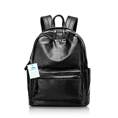 0ed79c157034 Yoome Black Leather Backpack College Backpack School Bag Hiking Casual  Backpack for Women Black  Amazon.co.uk  Shoes   Bags