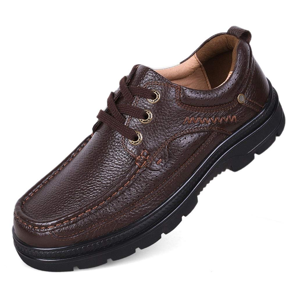 Hilotu Mens Walking Shoes Lightweight Breathable Casual Slip On Loafers Slip Resistant Leather Driving Boat Shoes Sneakers (Color : Lace up Brown, Size : 11.5 M US) by Hilotu-Men's Shoes