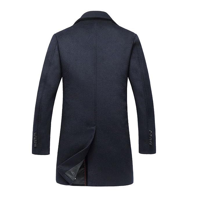 Homme Hiver Laine Manteau Long Simple Trench-Coat Boutonnage Chaud Slim fit  Casual Mode Veste Parka  Amazon.fr  Vêtements et accessoires 81aa9bc2a121