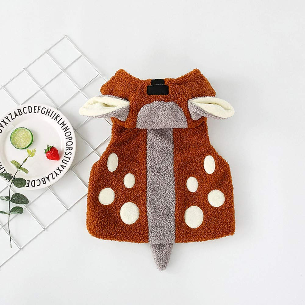 FEITONG Newborn Baby Boys Girls Cartoon Ears Hooded Coat Cotton Jacket with Velvet Padded Waistcoat Vest