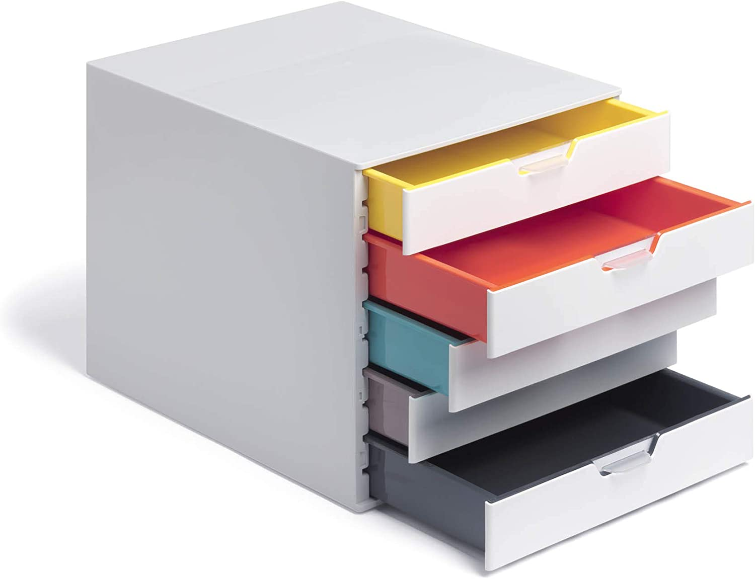 "DURABLE Desktop Drawer Organizer (VARICOLOR Mix 5 Compartments with Removable Labels) 11"" w x 14"" d x 11.375"" h, White & Multicolored (762527)"