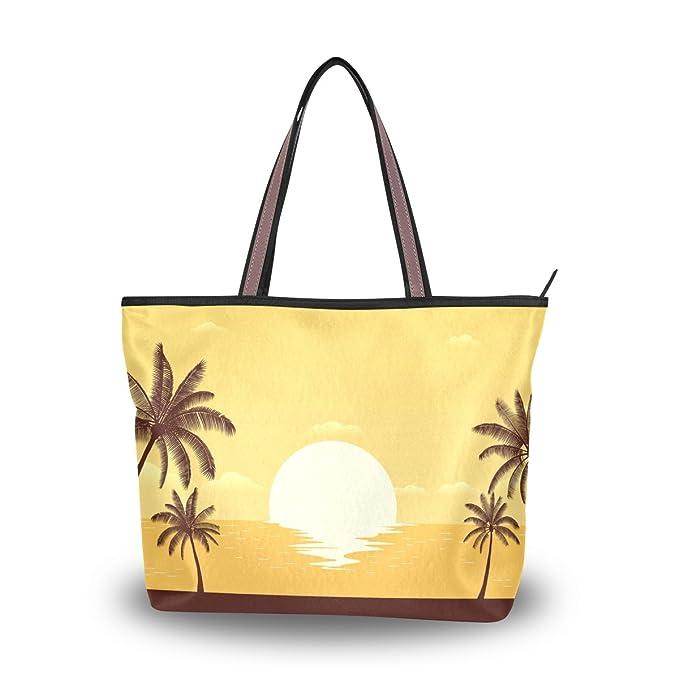 Amazon.com: Bolsa de playa Silueta Palma Árbol en la Playa ...