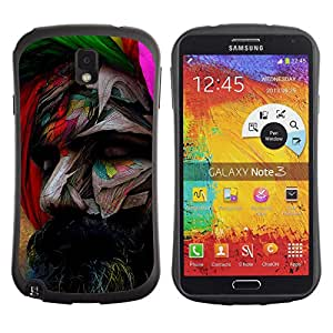 Hybrid Anti-Shock Bumper Case for Samsung Galaxy Note 3 / Pop Art Painted Face
