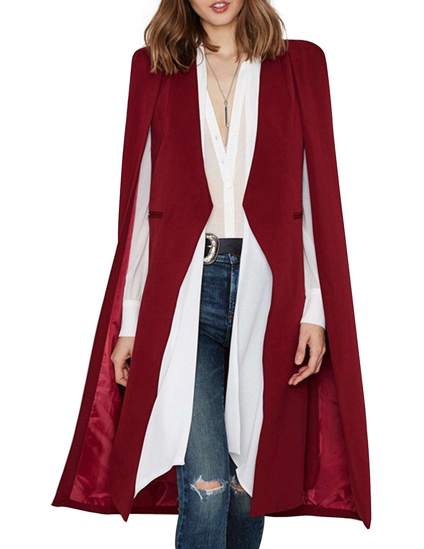 HAOYIHUI Womens Fashion Solid Longline Cape Open Front Cloak Trench Coat (Large, Burgundy)