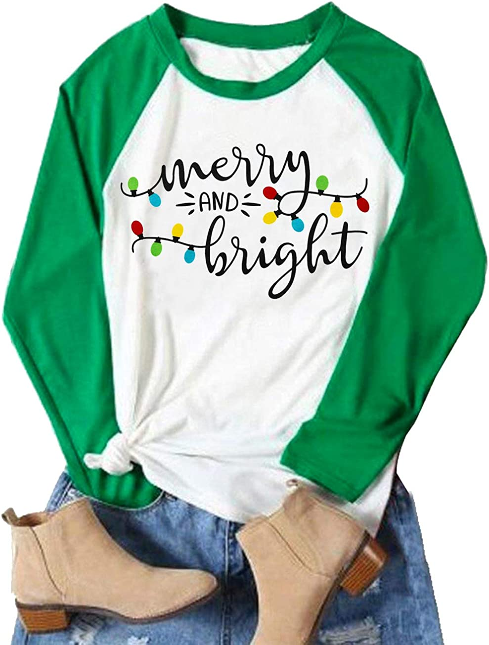 Christmas Tshirt Women Merry and Bright Shirt Letters Print Splicing 3//4 Sleeve Baseball Tshirt Blouse Tee Tops