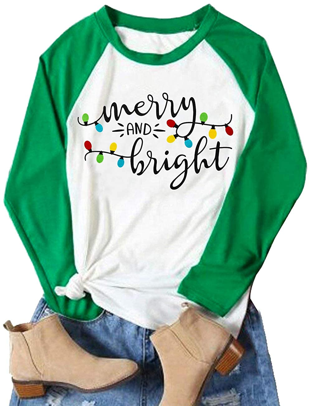 TAOHONG Women Merry and Bright Shirts Christmas Lights T-Shirt Splicing Long Sleeve Holiday Blouse Tops